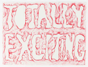 "red pastel outline of the words ""Totally Exciting"" on white paper"